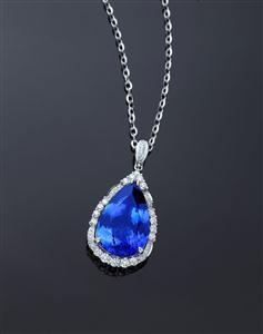 卓洋坦桑石钻石吊坠